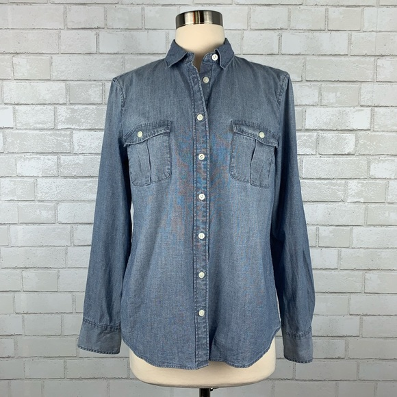 76538b27 J. Crew Factory Tops | J Crew Factory Chambray Perfect Fit Shirt ...